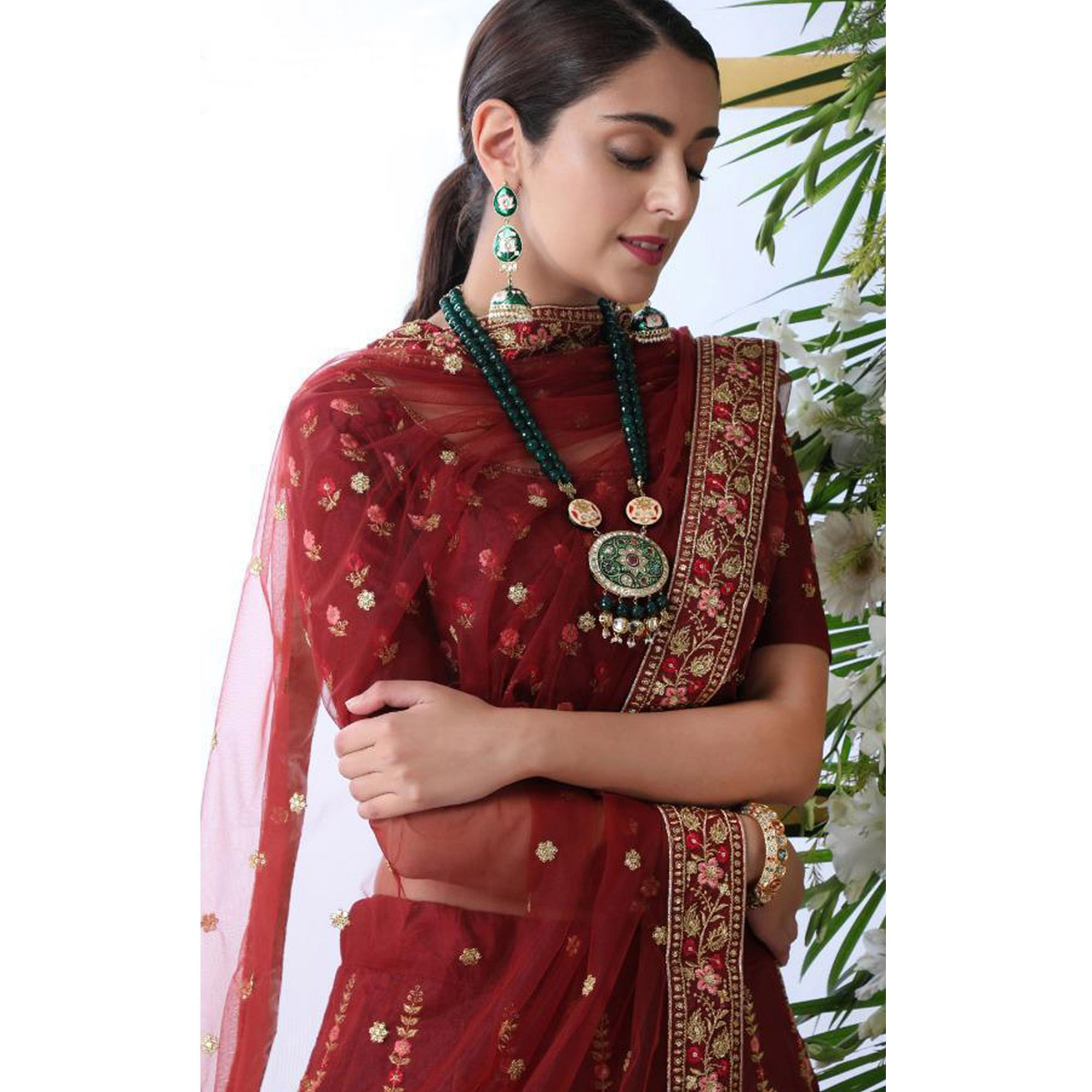 Pleasant Maroon Colored Party Wear Floral Embroidered Art Silk Lehenga Choli