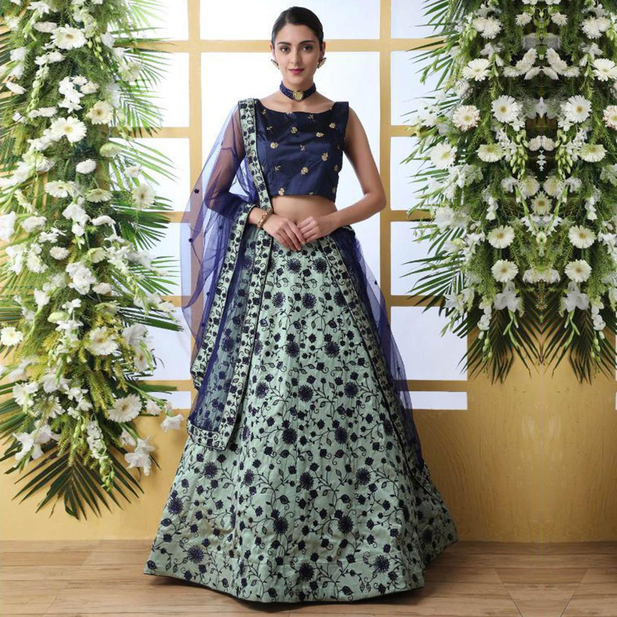 Opulent Mint Green Colored Party Wear Floral Embroidered Art Silk Lehenga Choli