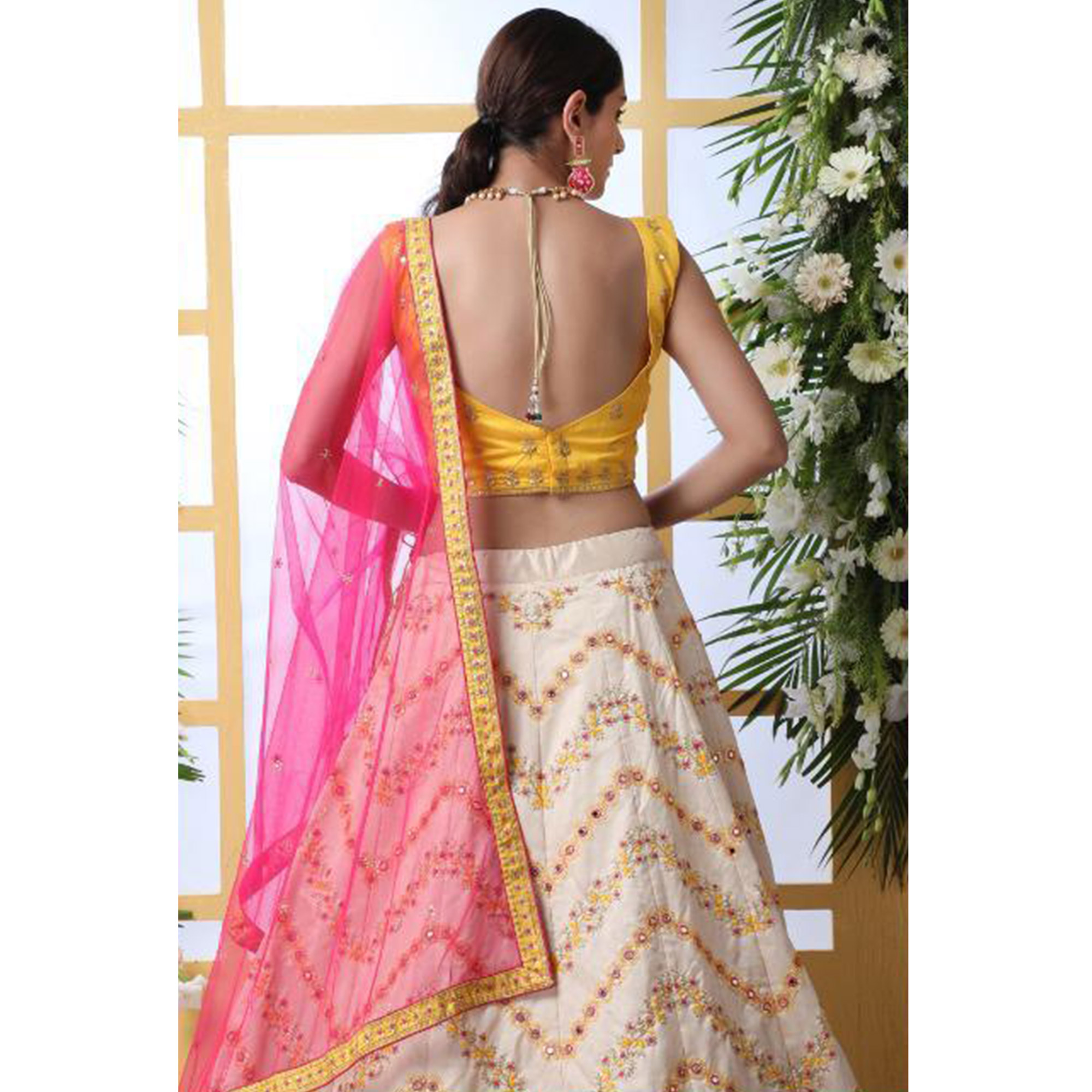 Energetic Off White Colored Party Wear Floral Embroidered Art Silk Lehenga Choli