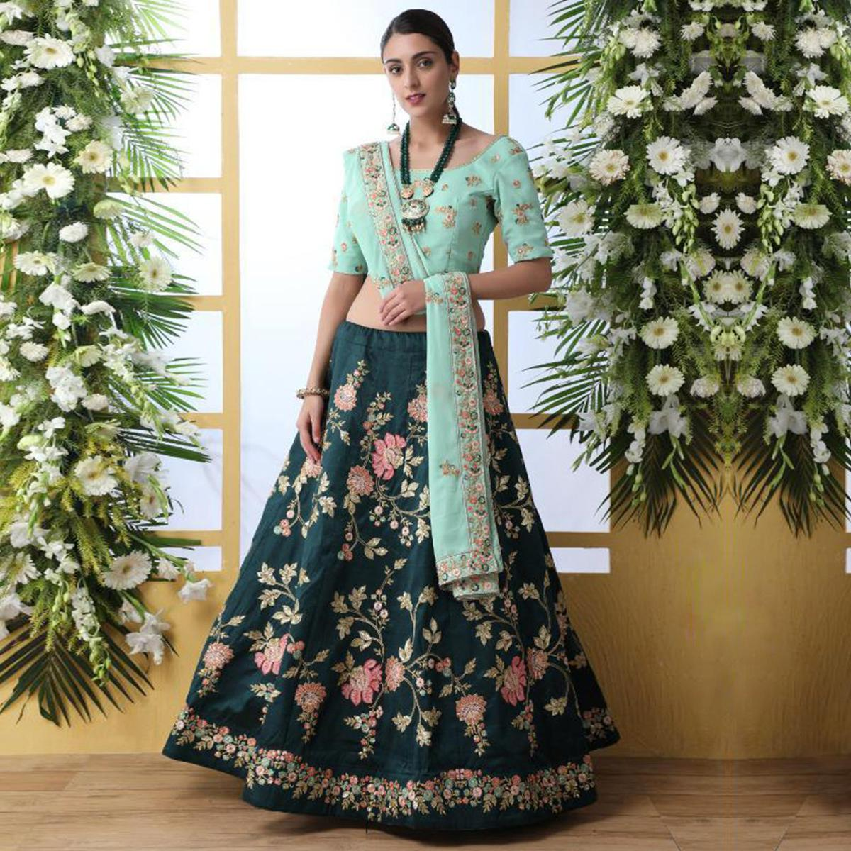 Glowing Teal Green Colored Party Wear Floral Embroidered Art Silk Lehenga Choli
