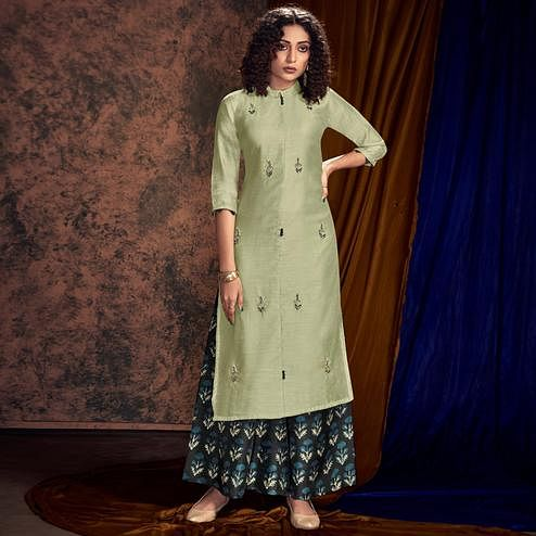 Eye-catching Pista Green Colored Partywear Handwork Viscose Kurti-Palazzo Set