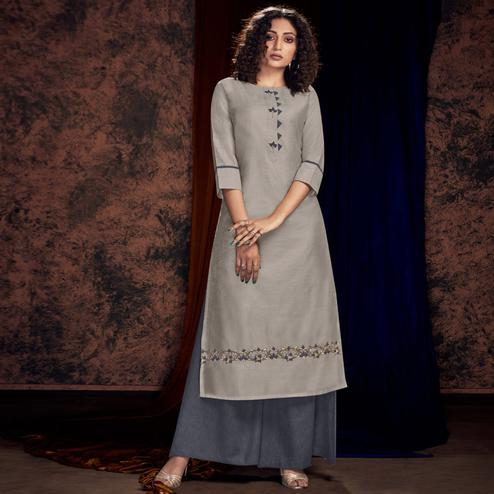 Fantastic Light Grey Colored Partywear Handwork Viscose Kurti-Palazzo Set