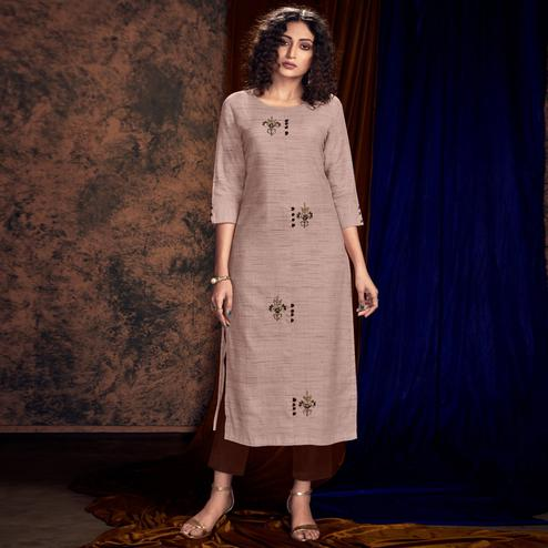 Amazing Mauve Colored Partywear Handwork Cotton Silk Kurti-Pant Set
