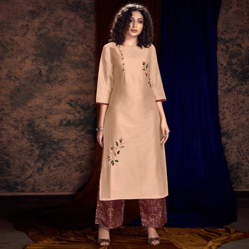 Gorgeous Peach Colored Partywear Handwork Silk Kurti-Palazzo Set