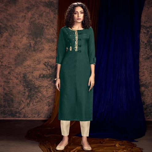 Blissful Bottle Green Colored Partywear Handwork Silk Kurti-Pant Set