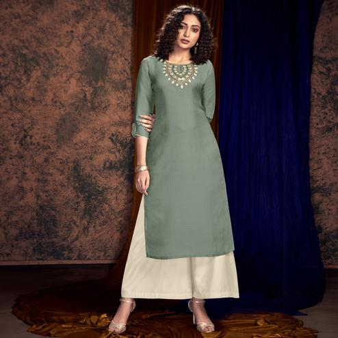 Ideal Pastel Green Colored Partywear Handwork Tussar Silk-Satin Kurti-Palazzo Set