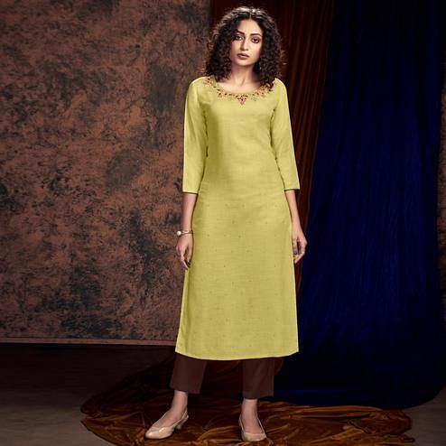 Imposing Lemon Green Colored Partywear Handwork Cotton Kurti-Pant Set