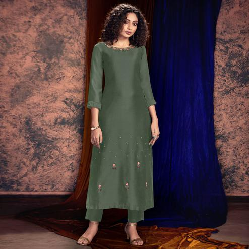 Lovely Dark Green Colored Partywear Handwork Silk Kurti-Pant Set