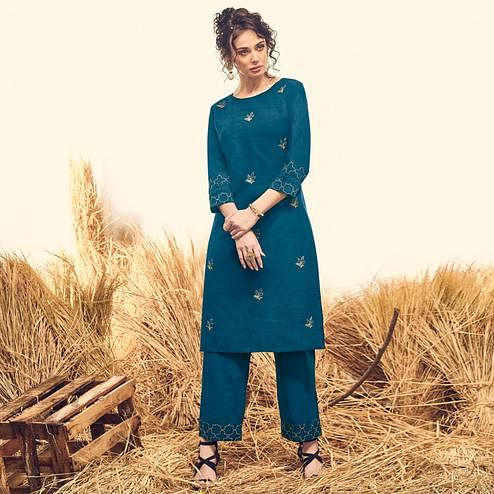 Marvellous Teal Blue Colored Partywear Handwork Cotton Kurti-Palazzo Set