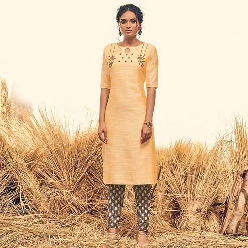 Flamboyant Light Yellow Colored Partywear Handwork Viscose Kurti-Pant Set