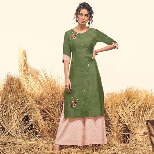 Sensational Green Colored Partywear Handwork Viscose Kurti-Palazzo Set
