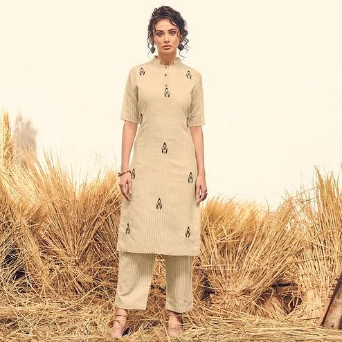 Flaunt Cream Colored Partywear Handwork Viscose Kurti-Palazzo Set