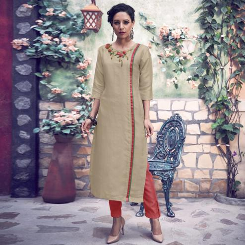Intricate Beige Colored Party Wear Floral Embroidered Tussar Silk-Satin Kurti-Pant Set