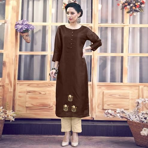 Trendy Dark Brown Colored Party Wear Floral Embroidered Tussar Silk-Satin Kurti-Pant Set