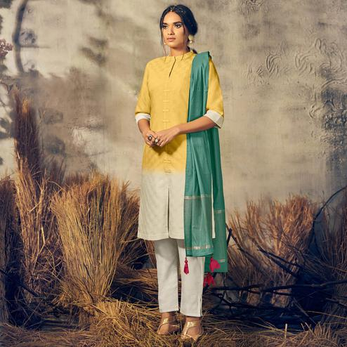 Pleasance Yellow-Off White Colored Partywear Stitched Viscose Suit