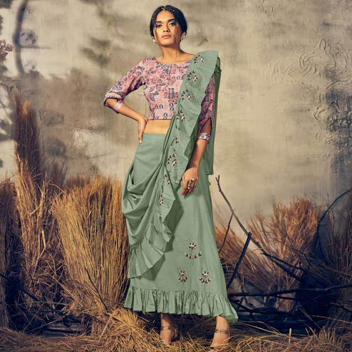 Breathtaking Pink-Light Green Colored Partywear Embroidered Viscose Skirt-Top With Dupatta