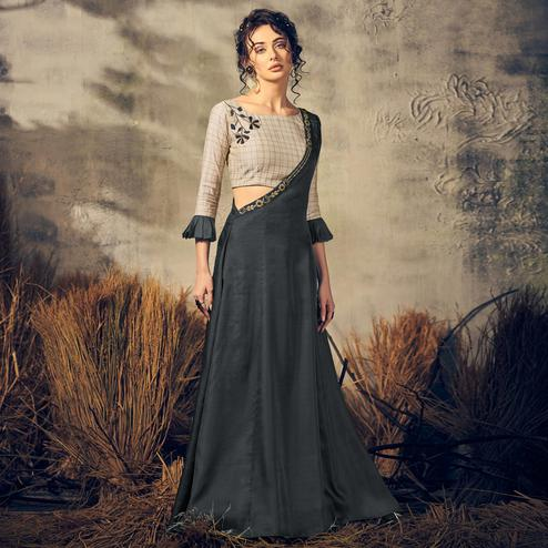 Ravishing Teal Grey Colored Partywear Tussar Silk-Satin Gown