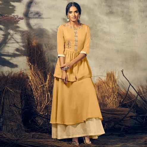 Staring Mustard Yellow Colored Partywear Embroidered Cotton-Satin Top-Skirt Set