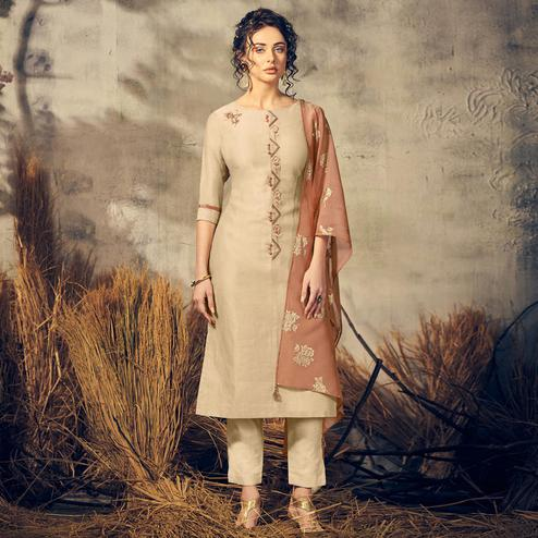 Dazzling Beige Colored Partywear Stitched Viscose Suit