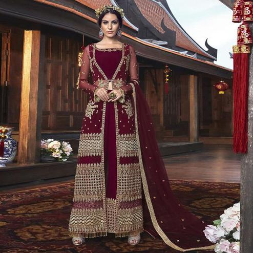 Beautiful Maroon Colored Partywear Embroidered Net Palazzo Suit With Long Jacket