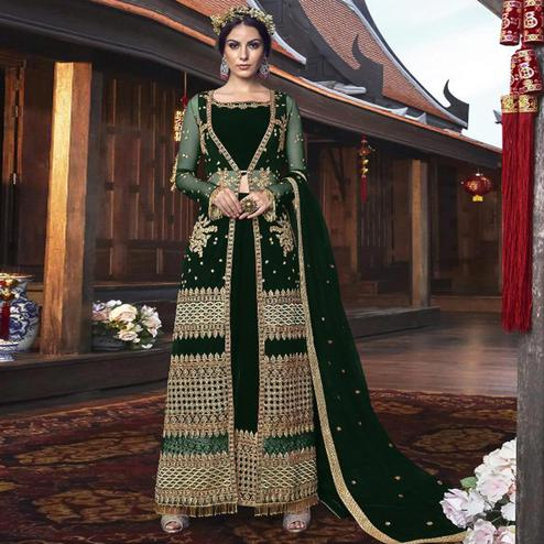 Graceful Dark Green Colored Partywear Embroidered Net Palazzo Suit With Long Jacket