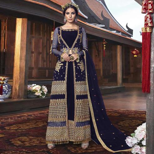 Blooming Purple Colored Partywear Embroidered Net Palazzo Suit With Long Jacket