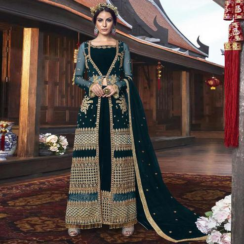 Charming Teal Green Colored Partywear Embroidered Net Palazzo Suit With Long Jacket