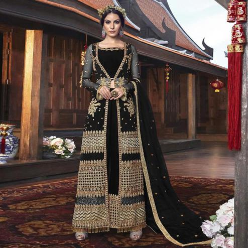 Jazzy Black Colored Partywear Embroidered Net Palazzo Suit With Long Jacket