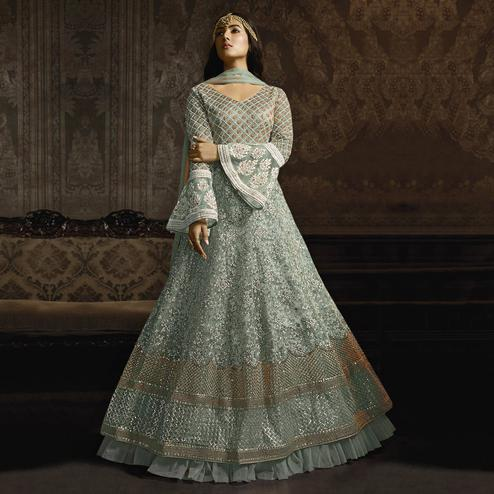 Exceptional Light Aqua Blue Colored Partywear Embroidered Bell Sleeve Net Anarkali Suit