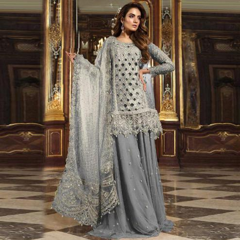 Gorgeous Grey Colored Partywear Embroidered Net Palazzo Suit