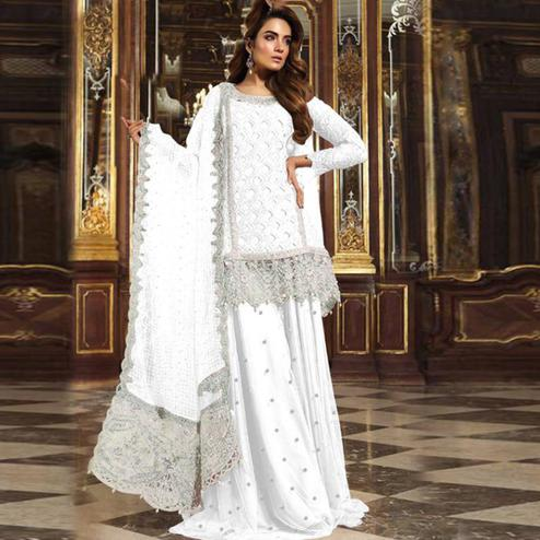 Breathtaking White Colored Partywear Embroidered Net Palazzo Suit