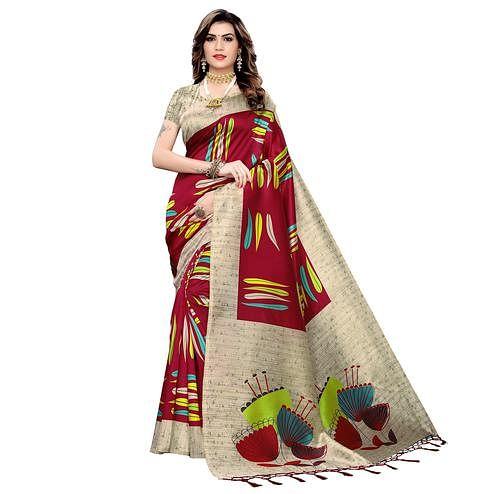 Captivating Maroon Colored Festive Wear Printed Art Silk Saree With Tassels