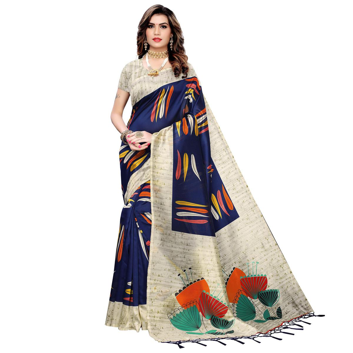 Energetic Navy Blue Colored Festive Wear Printed Art Silk Saree With Tassels