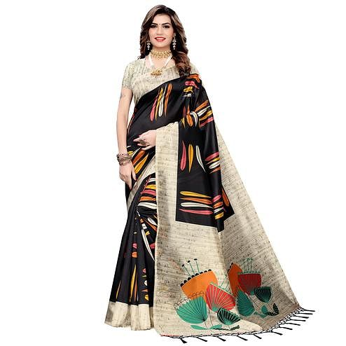 Glowing Black Colored Festive Wear Printed Art Silk Saree With Tassels