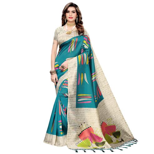 Innovative Rama Blue Colored Festive Wear Printed Art Silk Saree With Tassels