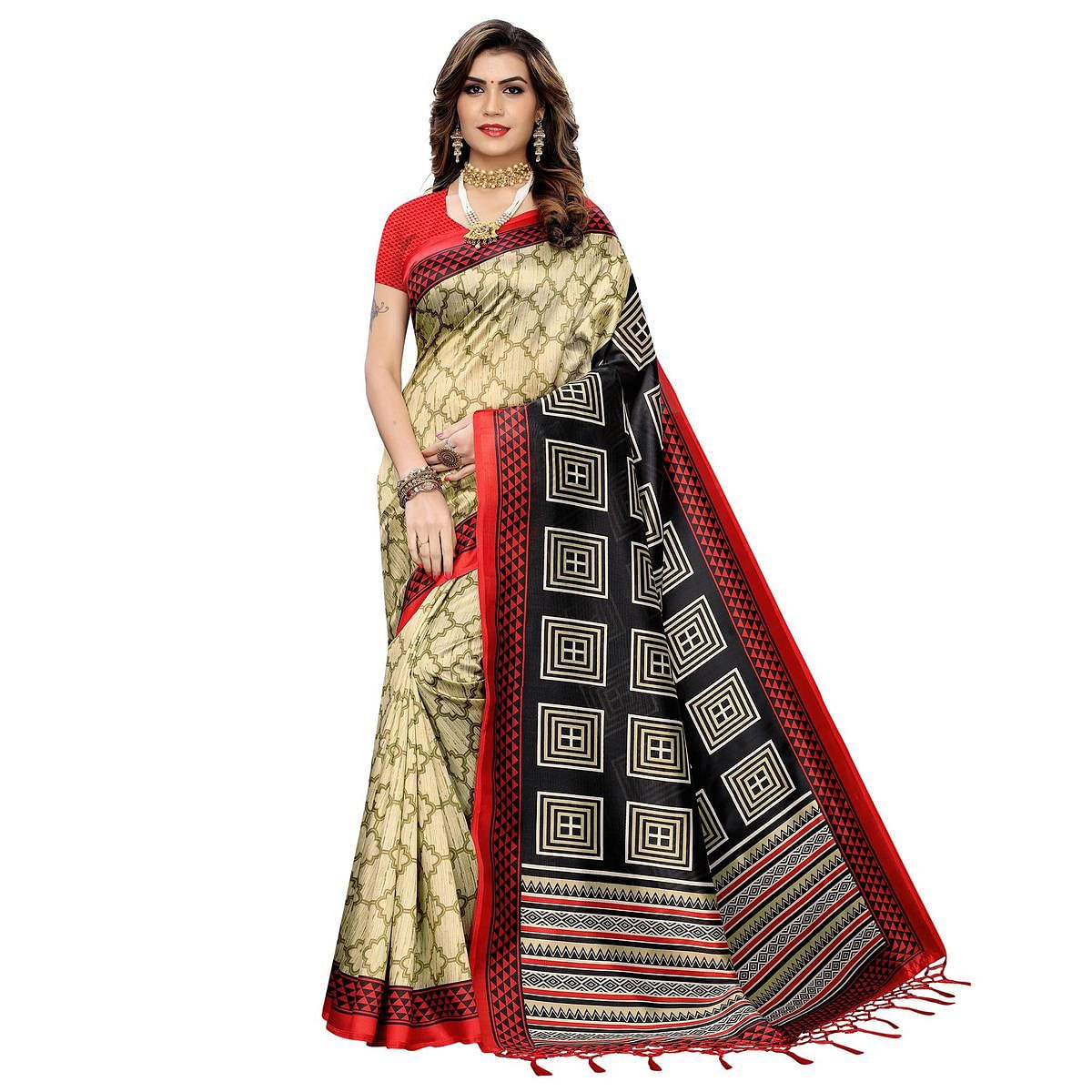 Gleaming Beige-Red Colored Festive Wear Printed Art Silk Saree With Tassels