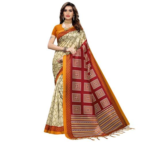 Fantastic Beige-Yellow Colored Festive Wear Printed Art Silk Saree With Tassels
