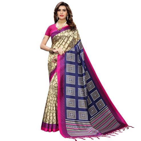 Amazing Beige-Pink Colored Festive Wear Printed Art Silk Saree With Tassels