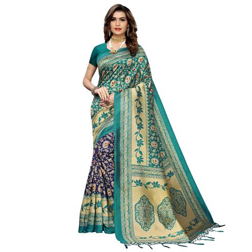 Mesmeric Navy Blue-Green Colored Festive Wear Printed Art Silk Half-Half Saree With Tassels