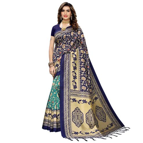 Unique Green-Navy Blue Colored Festive Wear Printed Art Silk Half-Half Saree With Tassels