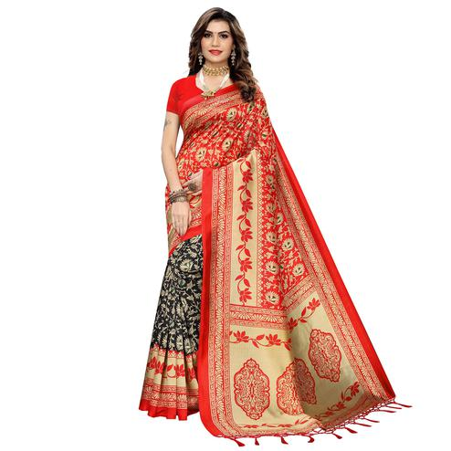 Gorgeous Black-Red Colored Festive Wear Printed Art Silk Half-Half Saree With Tassels