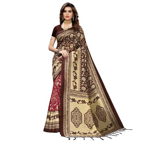 Blissful Pink-Brown Colored Festive Wear Printed Art Silk Half-Half Saree With Tassels