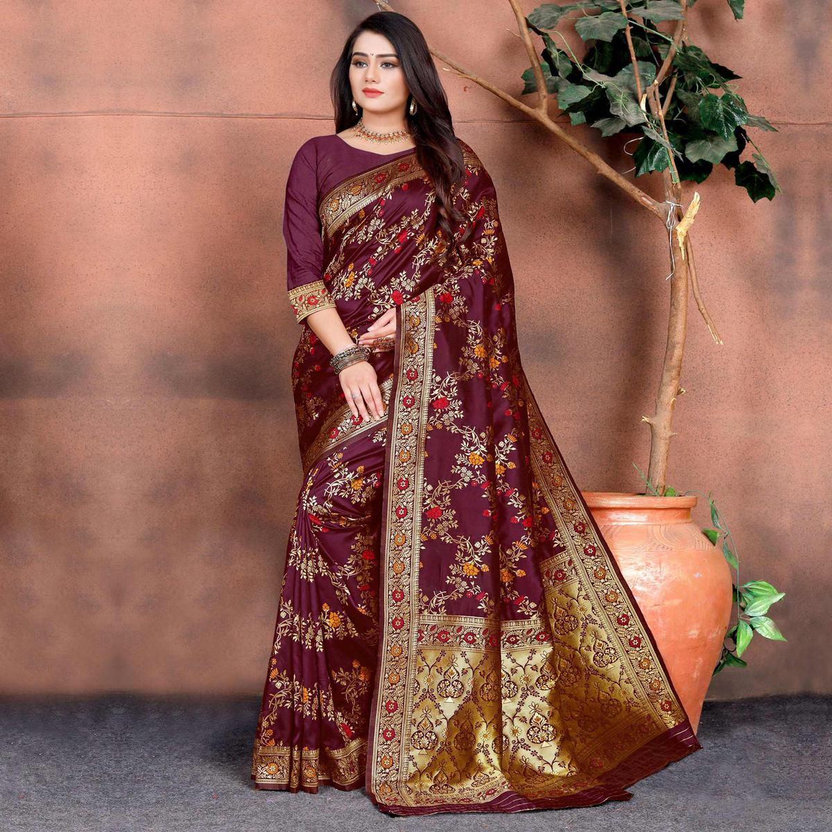 Intricate Wine Colored Festive Wear Woven Silk Saree