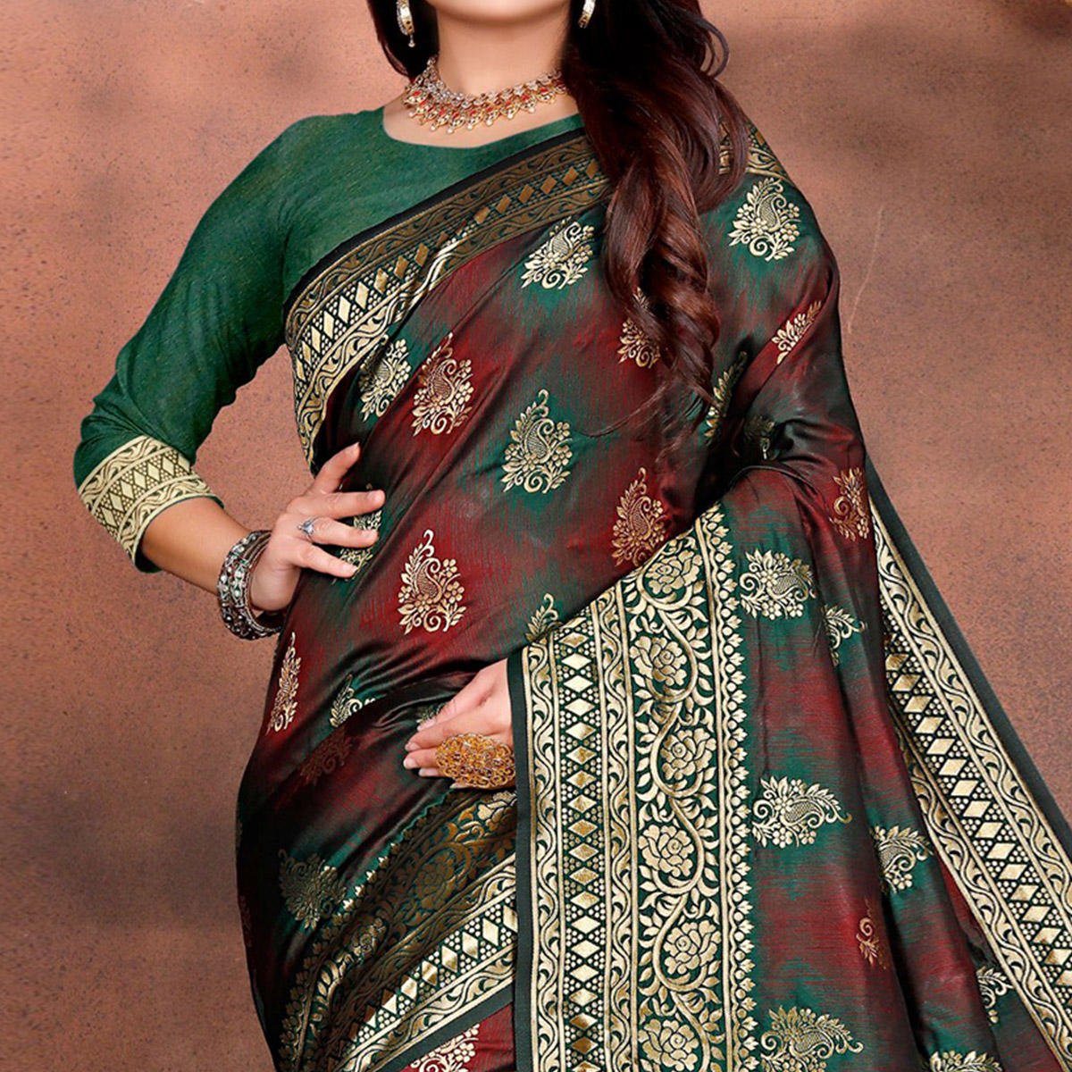 Arresting Green Colored Festive Wear Woven Silk Saree