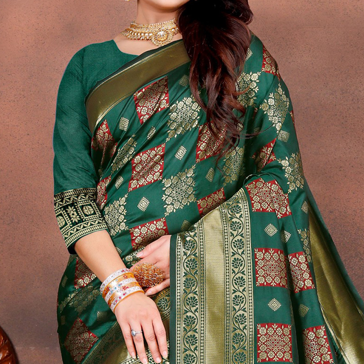 Radiant Teal Green Colored Festive Wear Woven Silk Saree