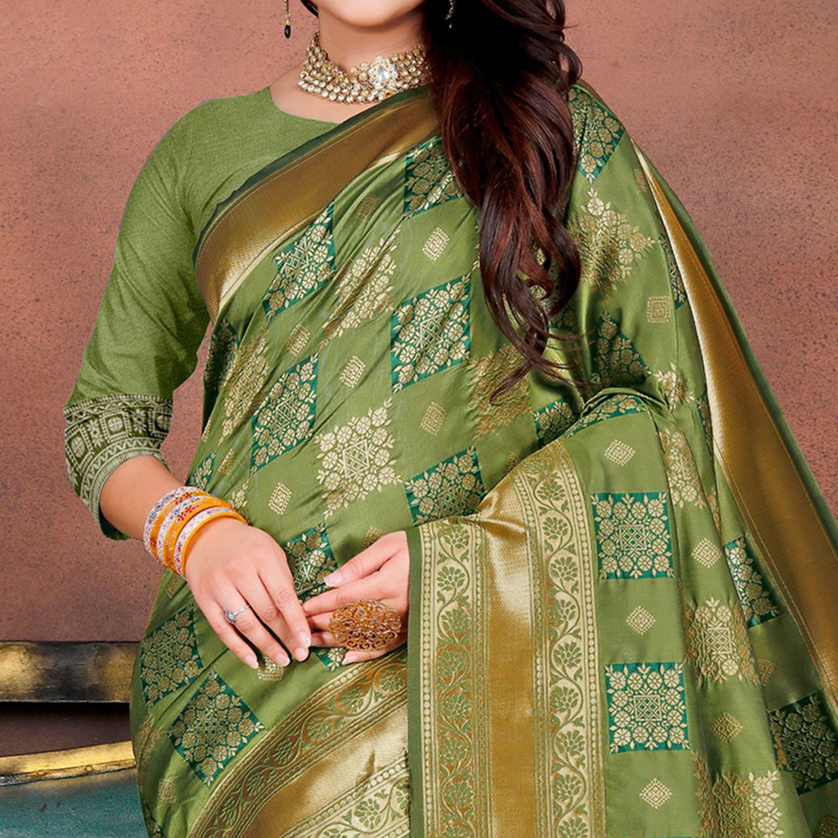 Energetic Green Colored Festive Wear Woven Silk Saree