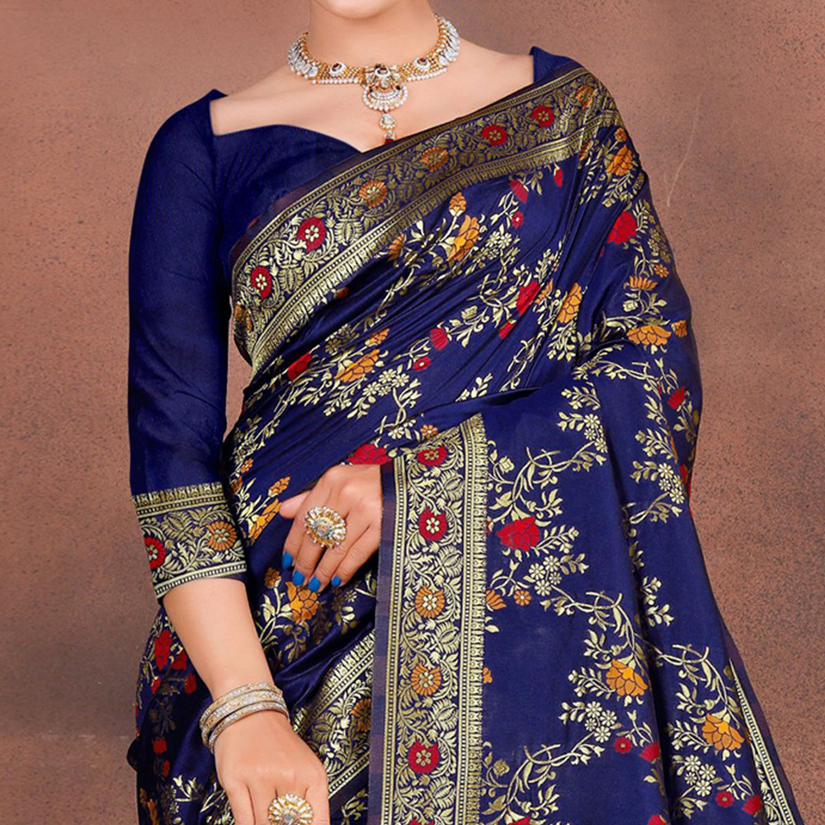 Exceptional Blue Colored Festive Wear Woven Silk Saree