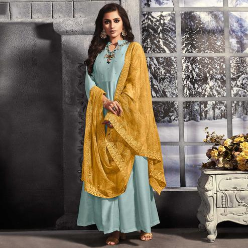 Adorable Sky Blue Colored Party Wear Embroidered Cotton Long Kurti With Dupatta