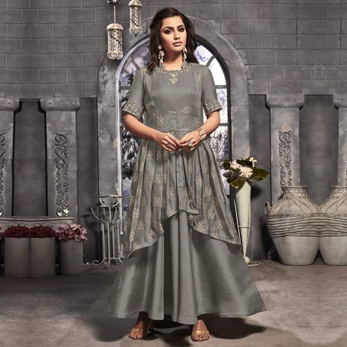 Glorious Grey Colored Party Wear Embroidered Tussar Silk-Satin Jacket Style Long Kurti