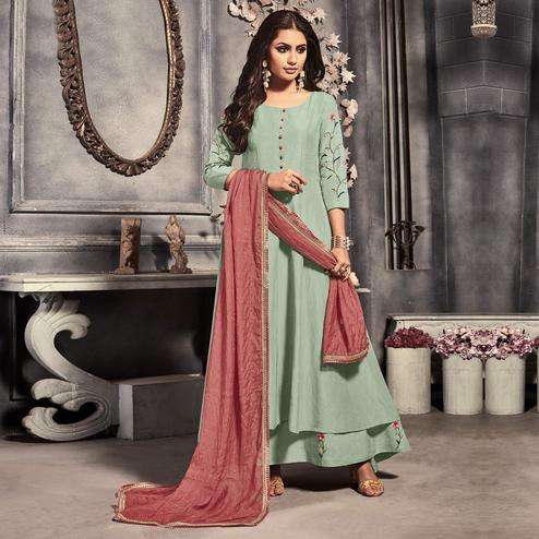 Attractive Light Pista Green Colored Party Wear Embroidered Linen Silk Long Kurti With Dupatta